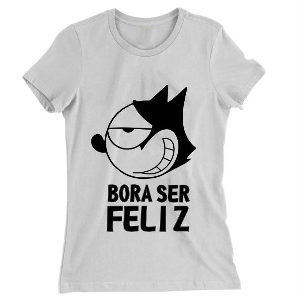 Camiseta Baby Look Gato Felix Bora Ser Feliz