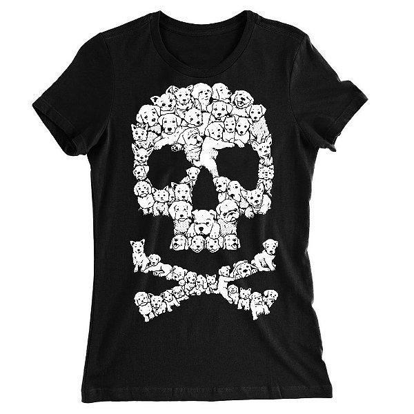Camiseta Baby Look Caveira de Cachorrinhos