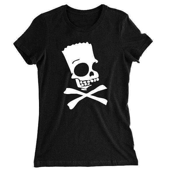 Camiseta Baby Look Bart Simpsons Caveira Perigo