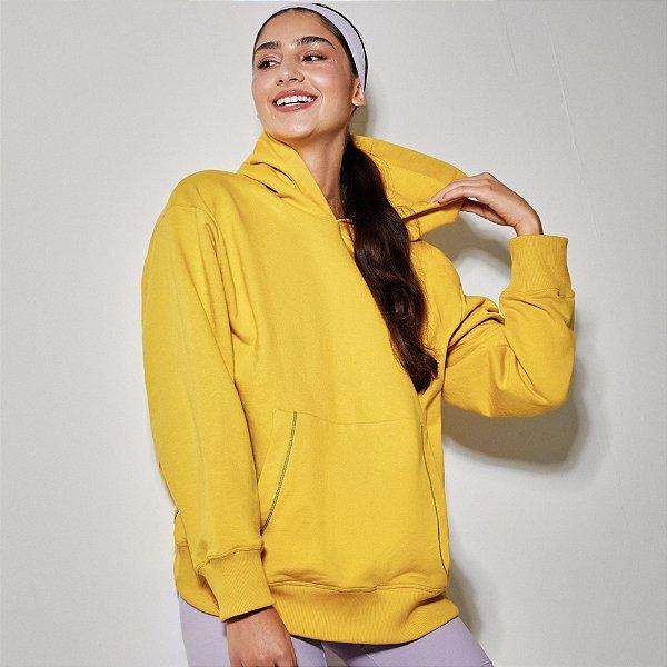 Casaco de moletom oversized Pietra amarelo (com capuz)