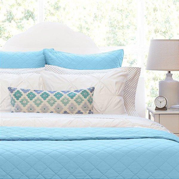 Kit: 1 Cobre-leito  CASAL + 2 Porta-travesseiros - 100% algodāo, 150 fios premium - Coleçāo Classique, Azul Frances - AtHome