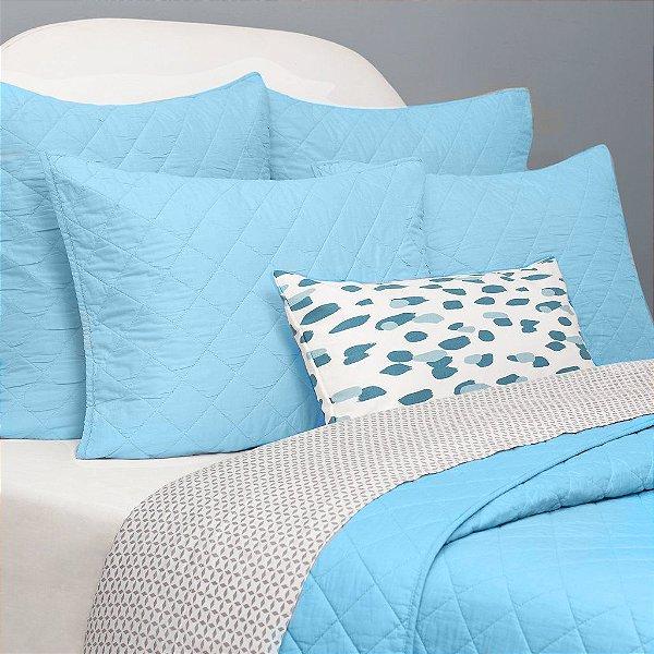 Kit: 1 Cobre-leito KING + 2 Porta-travesseiros - 150 fios em 100% algodāo premium - Coleçāo Classique, Azul Frances - AtHome