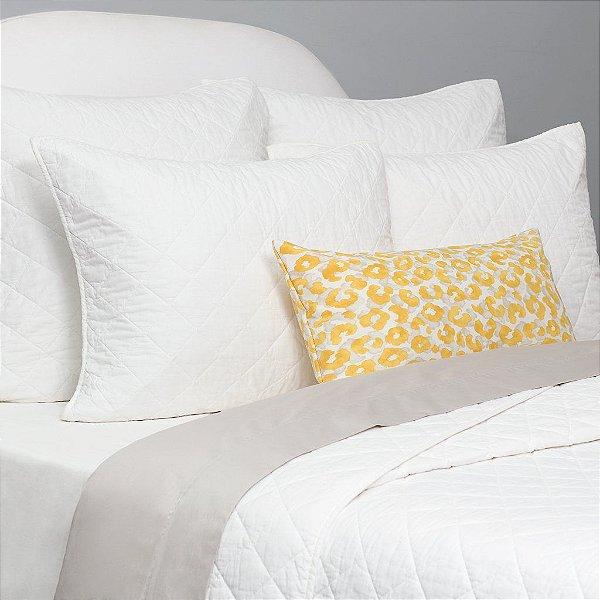 Kit: 1 Cobre-leito KING + 2 Porta-travesseiros - 150 fios em 100% algodāo premium - Coleçāo Classique,  Branco - AtHome
