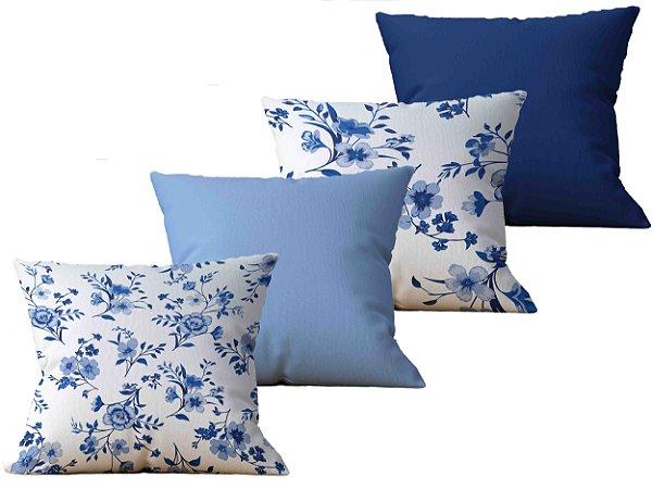 Kit com  4 Capas de Almofada decorativa estampa Flores Arvores Branco Azul - 45x45cm