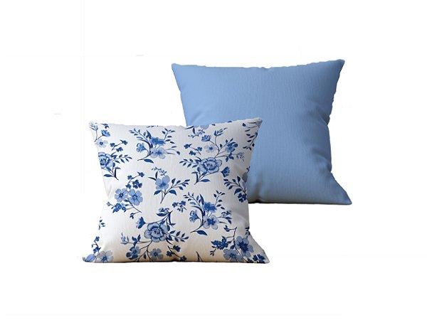 Kit com 2 Almofadas Decorativas Estampa Flores, Branca e Azul Claro - 45x45cm