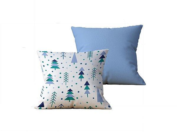 Kit com 2 Capas de Almofadas Decorativas Estampa Arvores, Branca e Azul Claro - 45x45cm