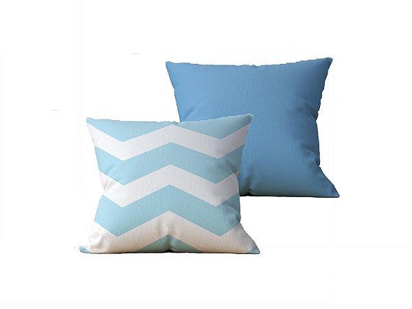 Kit com 2 Capas de Almofadas Decorativas Estampa Listras, Azul e Azul - 45x45cm