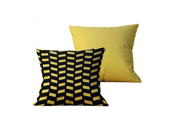Kit com 2 Capas de Almofadas Decorativas Geometricas Preto e Amarelo - 45x45cm