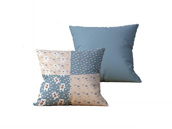 Kit com 2 Almofadas decorativas Patch & Vida Azul - 45x45 - by AtHome Loja