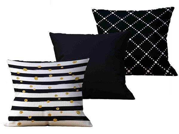 Kit com 3 Capas de Almofada decorativas Black Stripes - 45x45 - by AtHome Loja