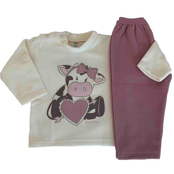 Pijama Infantil Feminino Dadomile - MicroSoft PET Thermo - Vaquinha by AtHome Loja