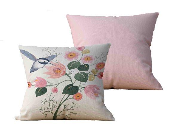 Kit com 2 Capas de Almofada decorativas Beija-Flor & Rose - 45x45 - by AtHome Loja