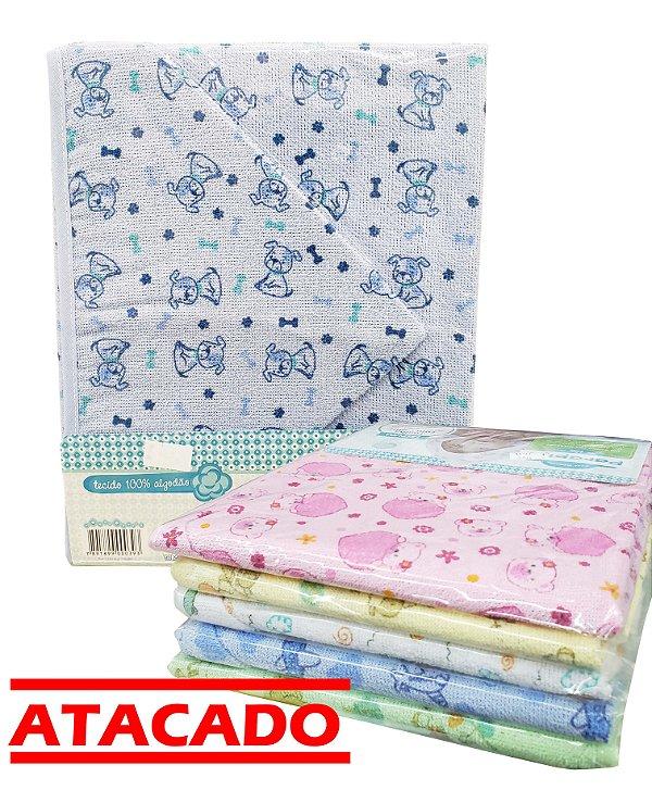 Toalha Felpuda c/ Capuz - 5 und. - 70 cm x 90 cm - 100% algodão - Parapipi - Ref.:1125