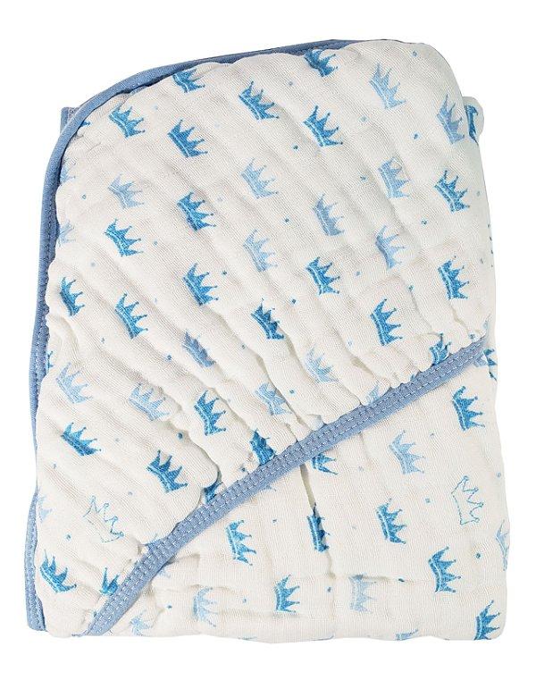 Toalha de Banho c/ Capuz - PAPI - Coroa Azul - 80cm X 80cm Ref.: 1920