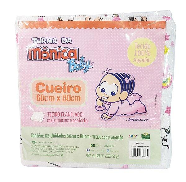 Cueiro da Turma da Mônica baby, cor rosa - Pacote c/ 3 unid. - 60 cm x 80 cm - Incomfral - Ref.: 3101070003