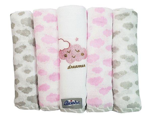 Fralda com bainha e bordada Nuvenzinha Rosa- Pacote c/ 5 unid. - Alvinha - Ref.: 5962