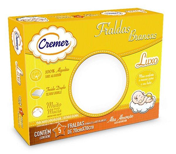 Fralda Cremer Luxo Branca - Pacote c/ 5 unid. - 70 cm x 70 cm - Ref.: