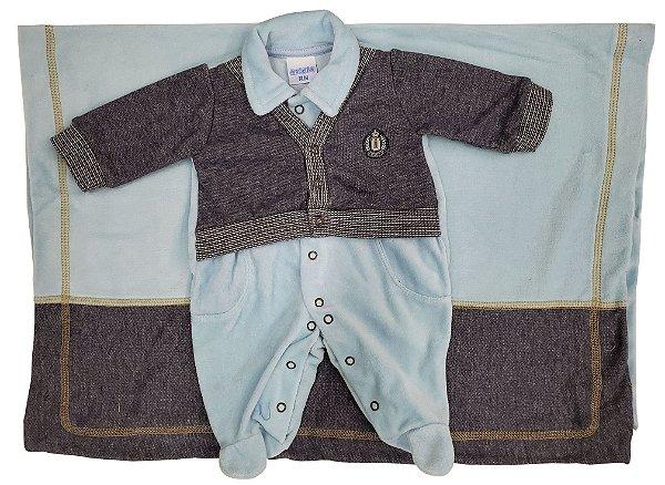 Saída Maternidade de Plush com Manta e  Casaco Termo - Tamanho RN - Maglian - Ref.: 05359