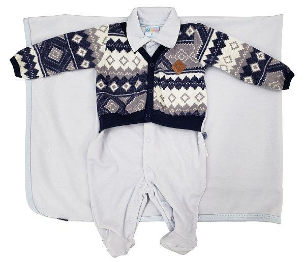 Saída Maternidade de Plush com casaco de tricô e manta Azul - Tamanho P - Paraíso - Ref.: 9666