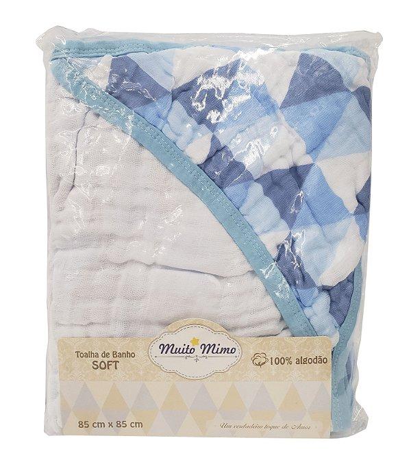 Toalha de Banho Soft c/ Capuz Azul - 85 cm X 85 cm - Muito Mimo - REF.: 5603
