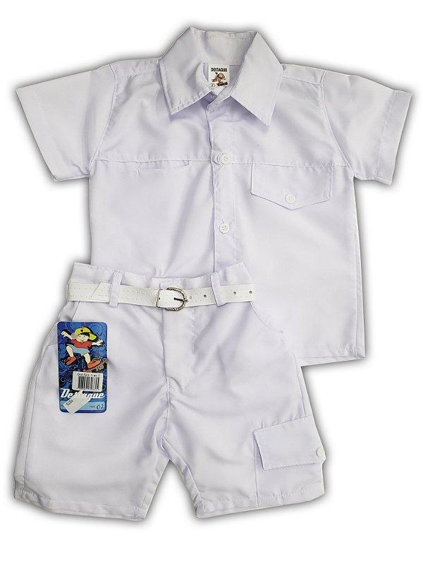 Camiseta e shorts branco social c/ cinto - Tam. 2/3 - Destaque - Ref.: 5230