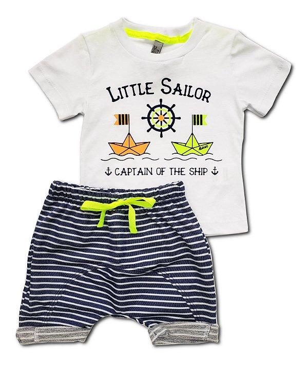 Conjunto Little Sailor c/ bermuda - Tam. P e M - Alekids - Ref.: 20009