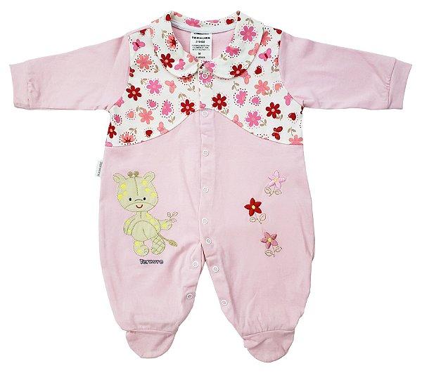 Macacão rosa c/ flores  - 100% algodão - Ternura - Ref.: 319408