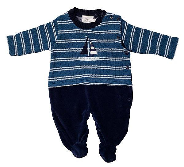 Macacão de linho e Plush Azul - B de Bebê - Ref.: 120393