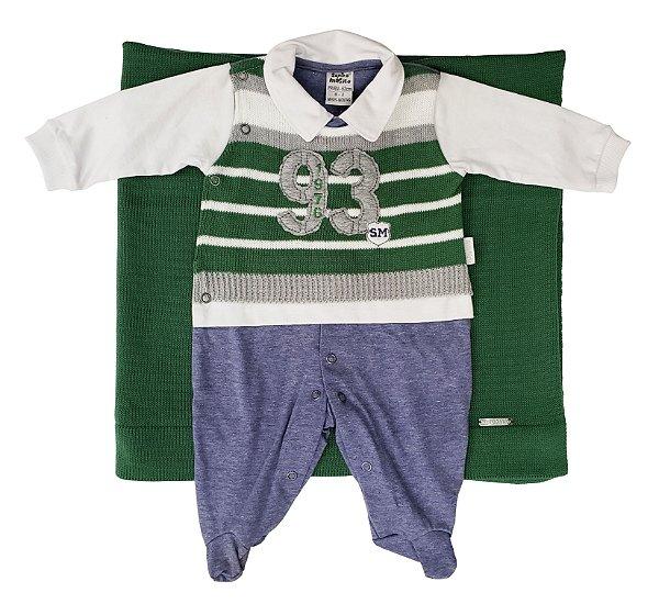 Saída Maternidade de tricô verde 02 peças - Tam. PP - Sonho Mágico - Ref.: 120506