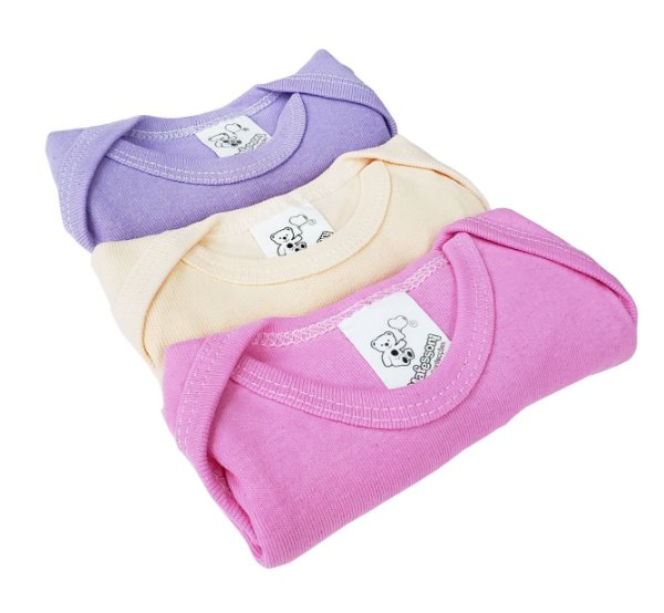 Body manga curta liso - Estampas femininas variadas - Pacote 03 un. - Cores variadas - Mafessoni - Ref.: 165