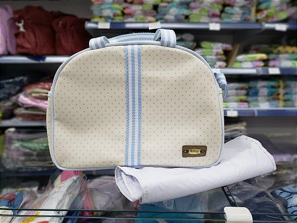 Bolsa Maternidade Azul com forro e c/ trocador impermeável