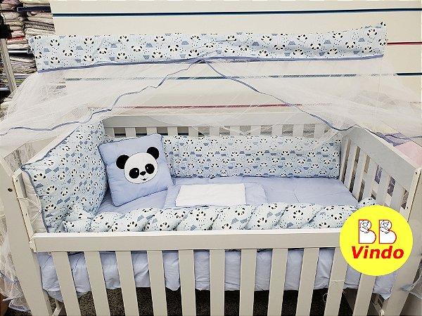 Kit Berço Panda Azul com 09 peças e 1 lateral de trança - Padrão Americano