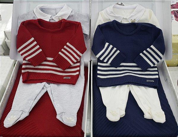 Saída Maternidade 03 peças de tricot - Ref.:421009