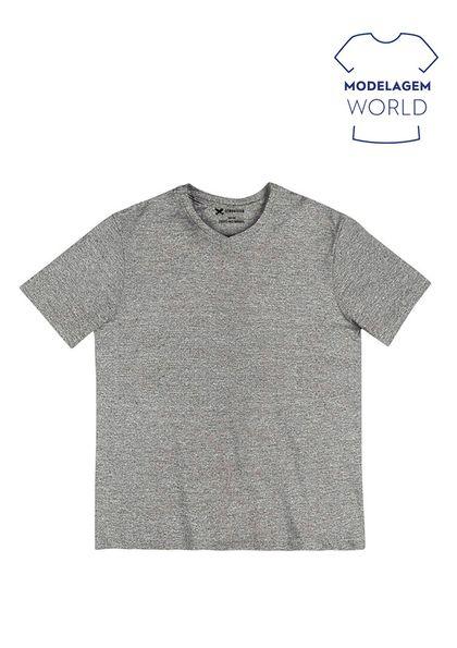 Camiseta Masc Básica Gola em V Malha Flamê Algodão Mod World