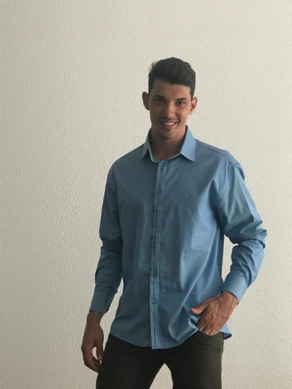 Camisa Masculina Manga Longa Azul