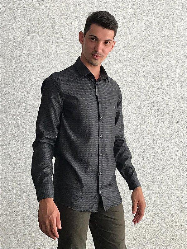 Camisa Masculina Manga Longa Cinza Grafite