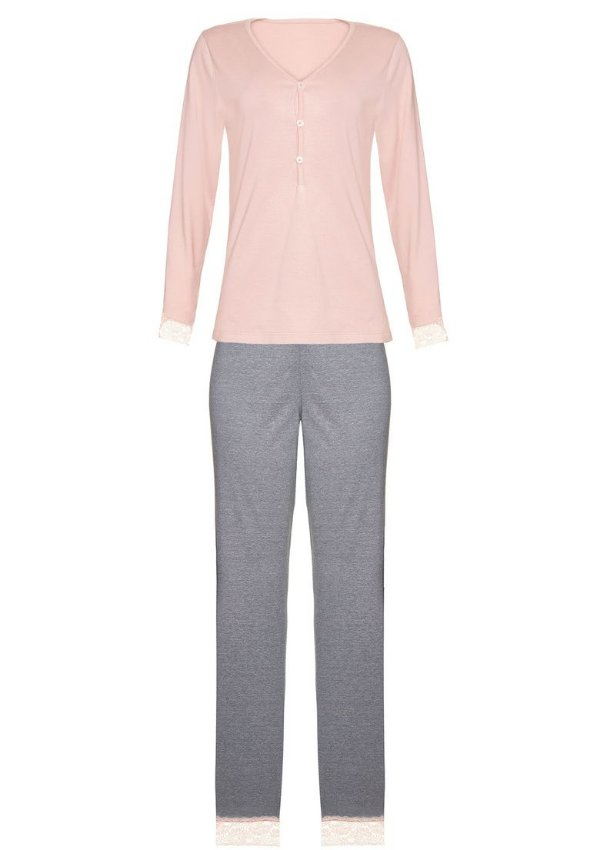 Pijama Feminino Longo Blusa Com Botões - Rosa- M