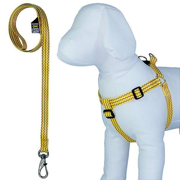 Peitoral para Cachorro Ajustável com Guia Estampa Poken
