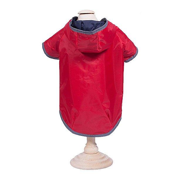 Capa de Chuva Cachorro Dupla Face Vermelho e Azul Marinho