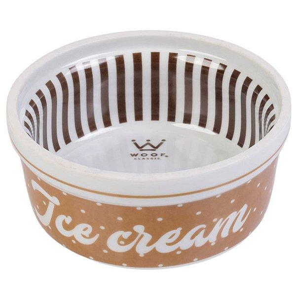 Comedouro Cachorro Porcelana Ice Cream Marrom