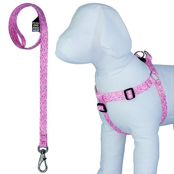 Peitoral Pet Ajustável com Guia Estampa Girls