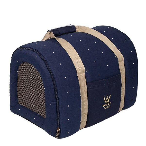 Bolsa Transporte Cachorro Tela R0116 Marinho Woof Tam Único