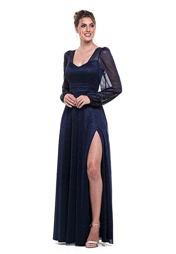 Vestido Lurex Azul Marinho