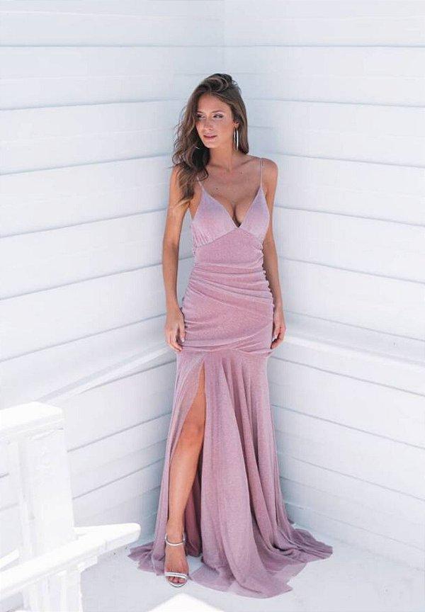 Vestido Hollywood Lurex Rosa