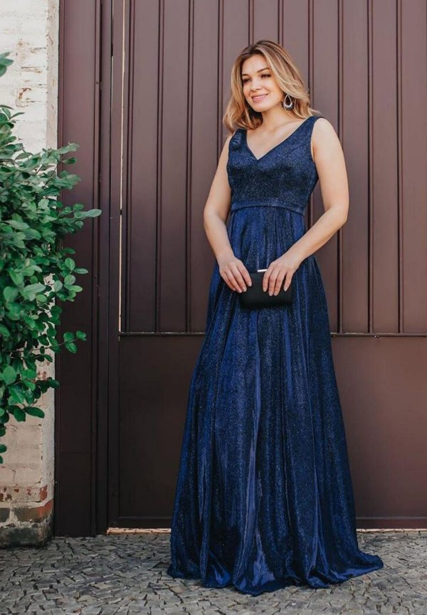 Vestido Alça Grossa Azul Marinho