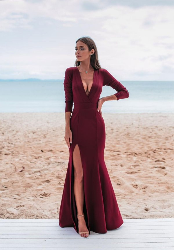 Vestido Elaine Marsala