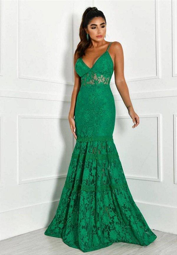 Vestido Sereia Renda Verde