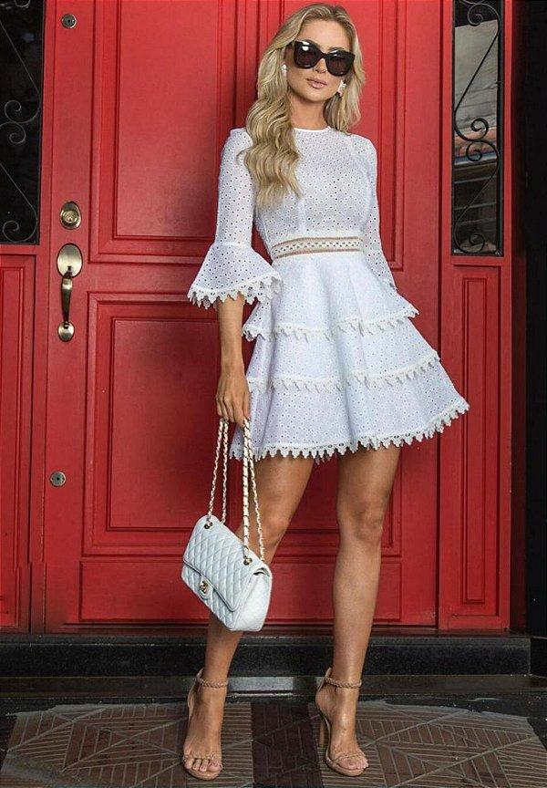 Vestido Laise Saia Camadas Branco