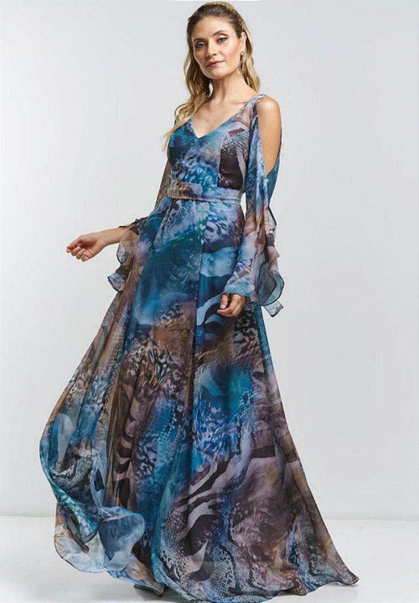 Vestido Animal Print Azul