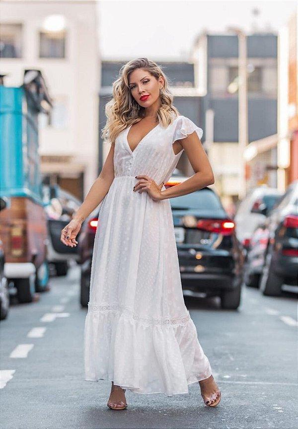 Vestido Jaguard Renda Branco